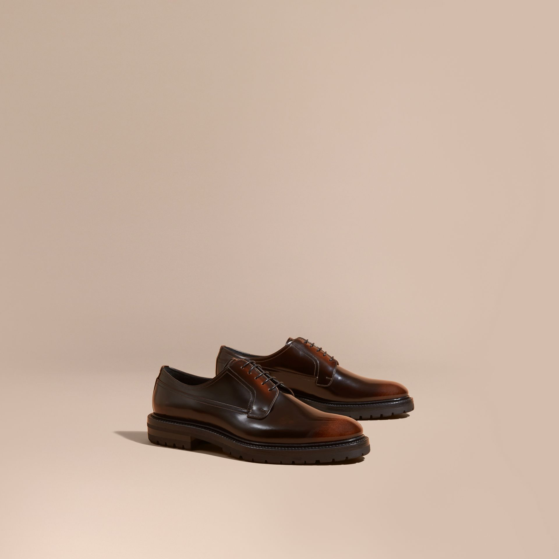 Burnished Leather Derby Shoes in Bitter Chocolate - gallery image 1