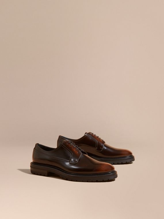 Burnished Leather Derby Shoes Bitter Chocolate