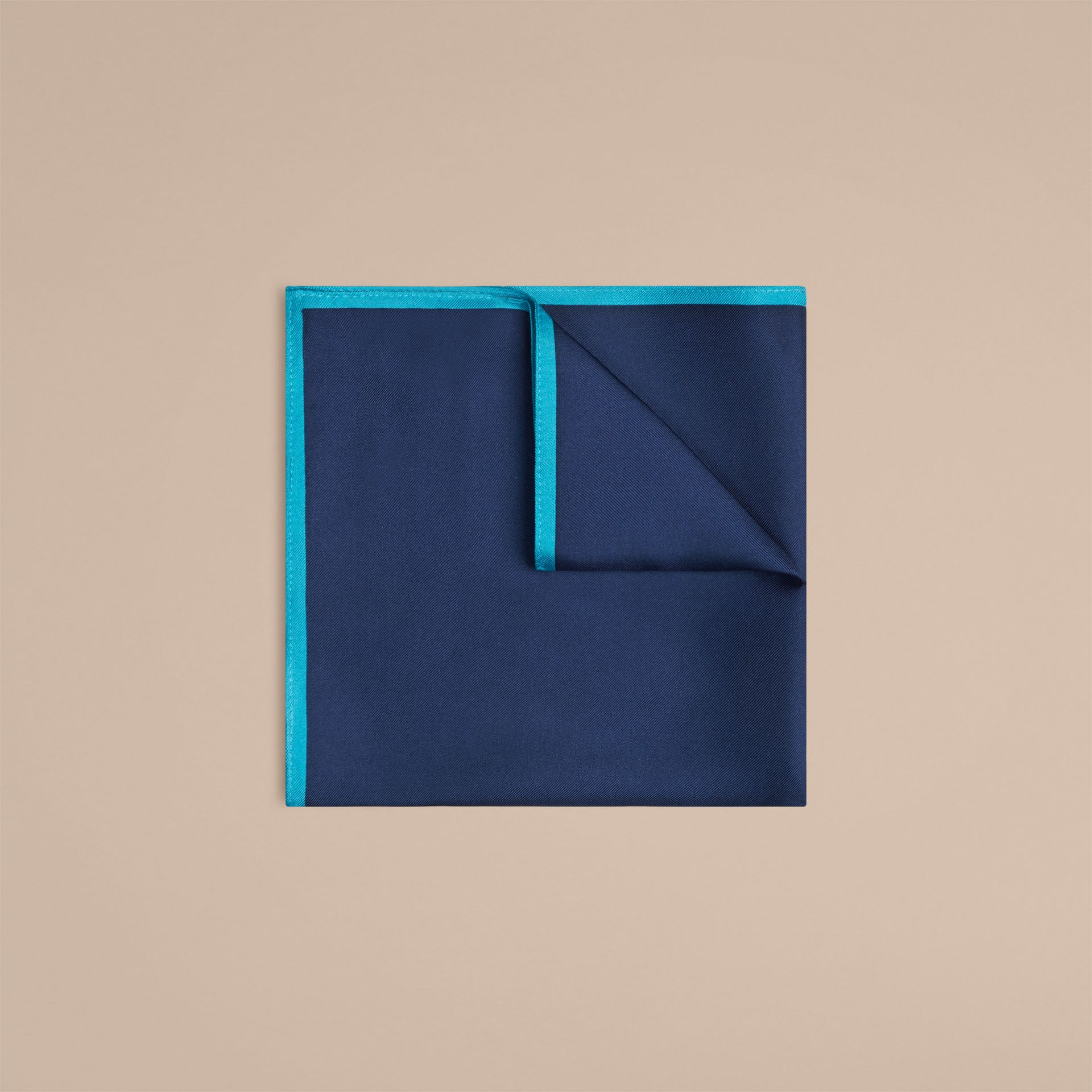 Bright navy Contrast Border Silk Pocket Square Bright Navy - gallery image 1