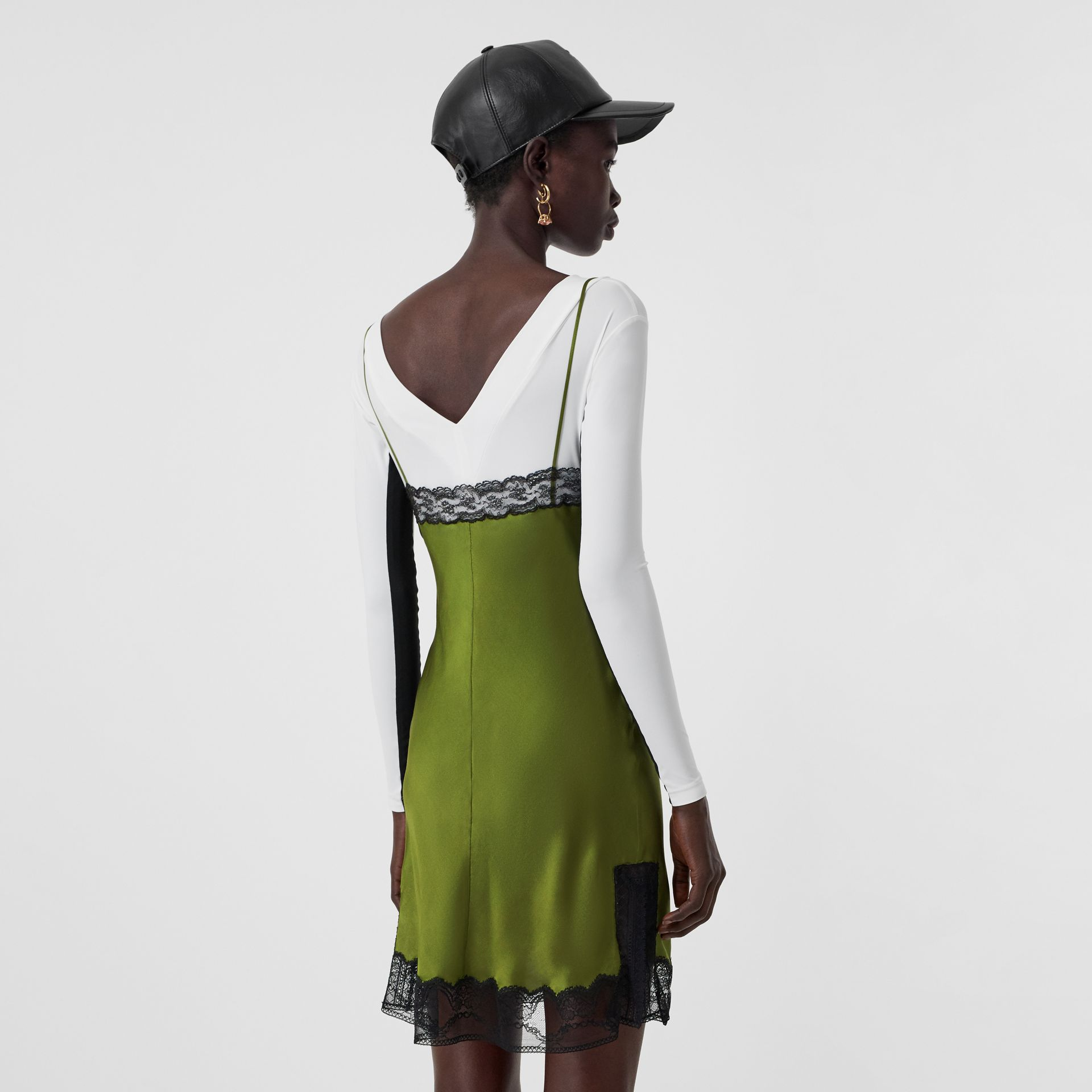 Lace Detail Silk Satin Slip Dress in Cedar Green - Women | Burberry - gallery image 2