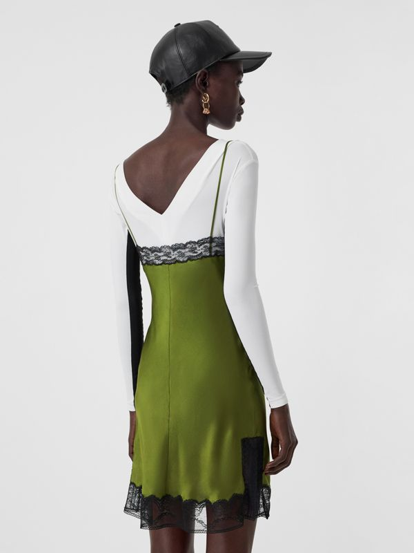 Lace Detail Silk Satin Slip Dress in Cedar Green - Women | Burberry - cell image 2