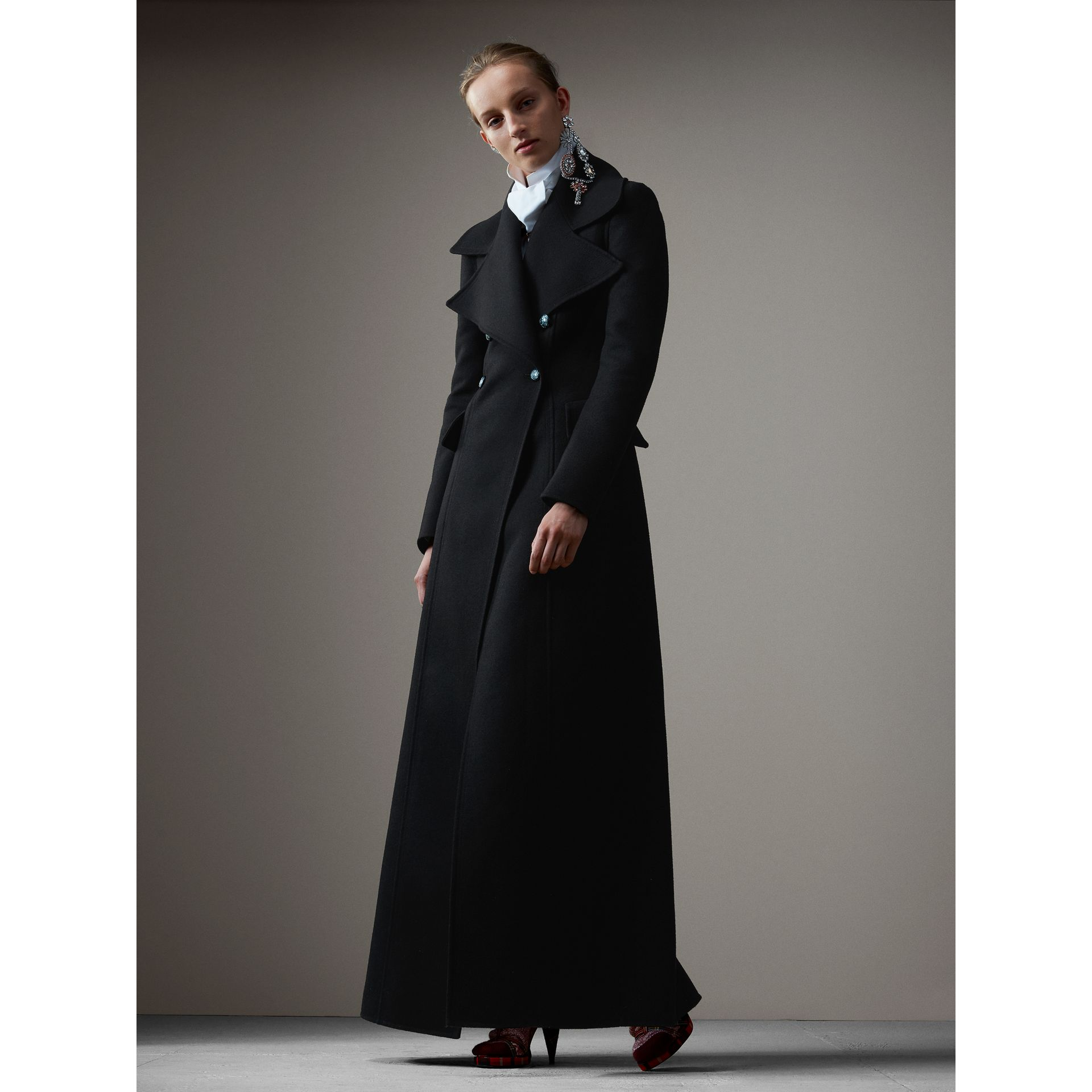 Felted Wool Full-length Tailored Coat in Black - Women | Burberry United Kingdom - gallery image 4