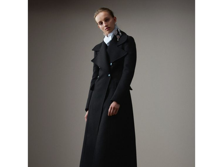 Felted Wool Full-length Tailored Coat in Black - Women | Burberry United Kingdom - cell image 4