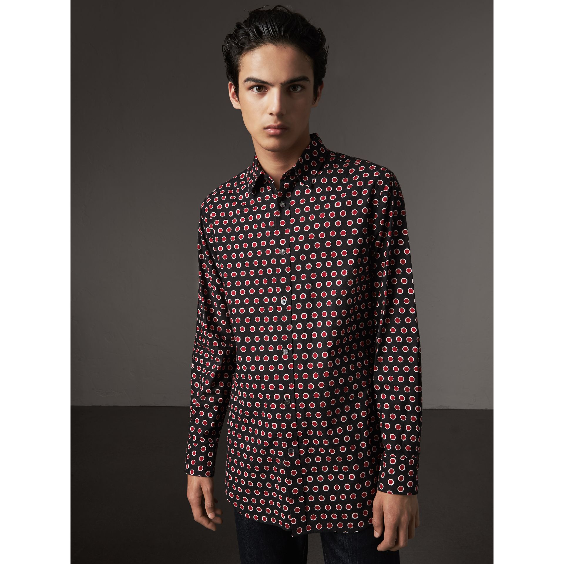 Spot Print Cotton Shirt in Parade Red - Men | Burberry - gallery image 1