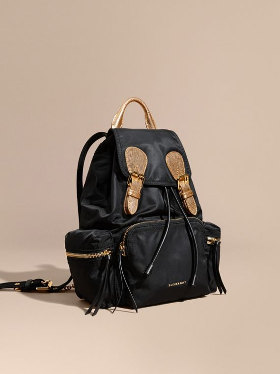 The Medium Rucksack in Two-tone Nylon and Leather in Black/gold