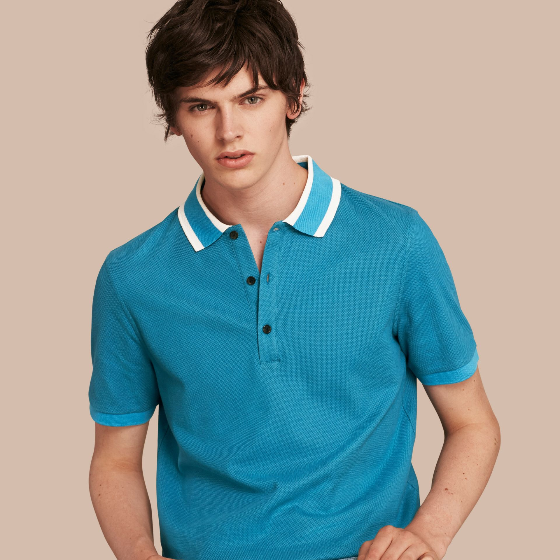Striped Collar Cotton Piqué Polo Shirt Bright Turquoise - gallery image 1