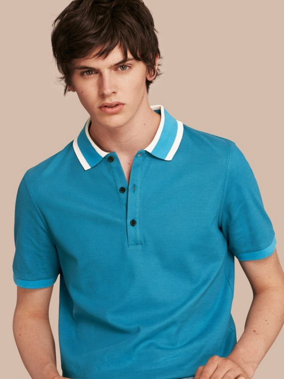 Striped Collar Cotton Piqué Polo Shirt Bright Turquoise
