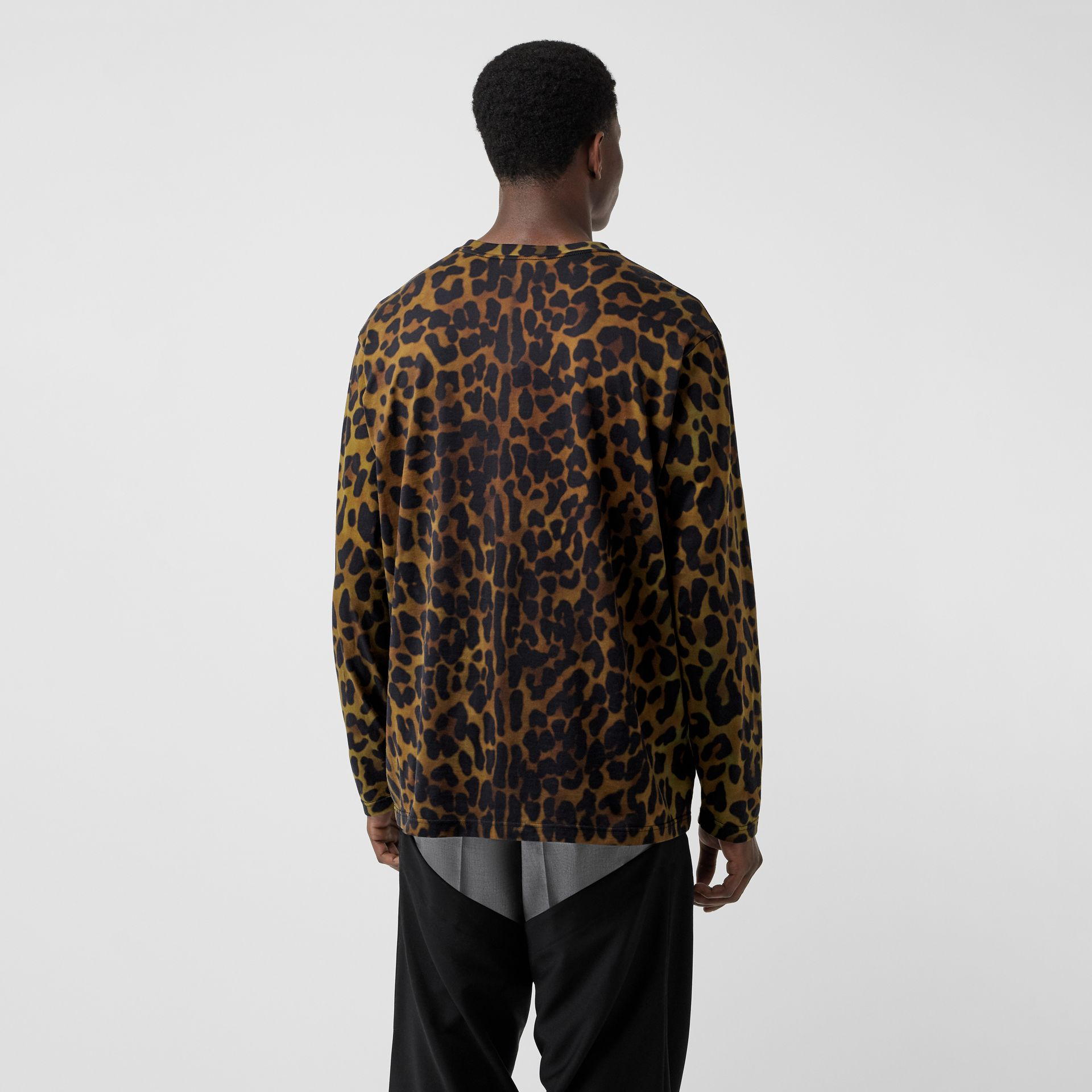 Leopard Print Cotton Oversized Top in Khaki Green | Burberry - gallery image 2