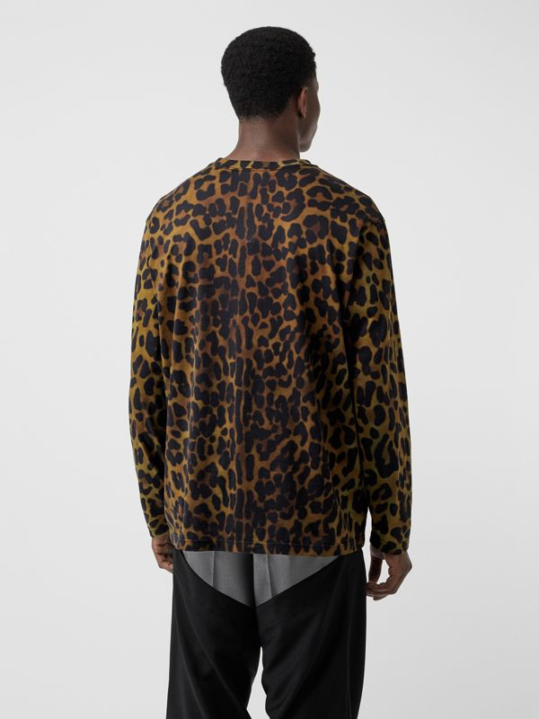 Leopard Print Cotton Oversized Top in Khaki Green | Burberry - cell image 2