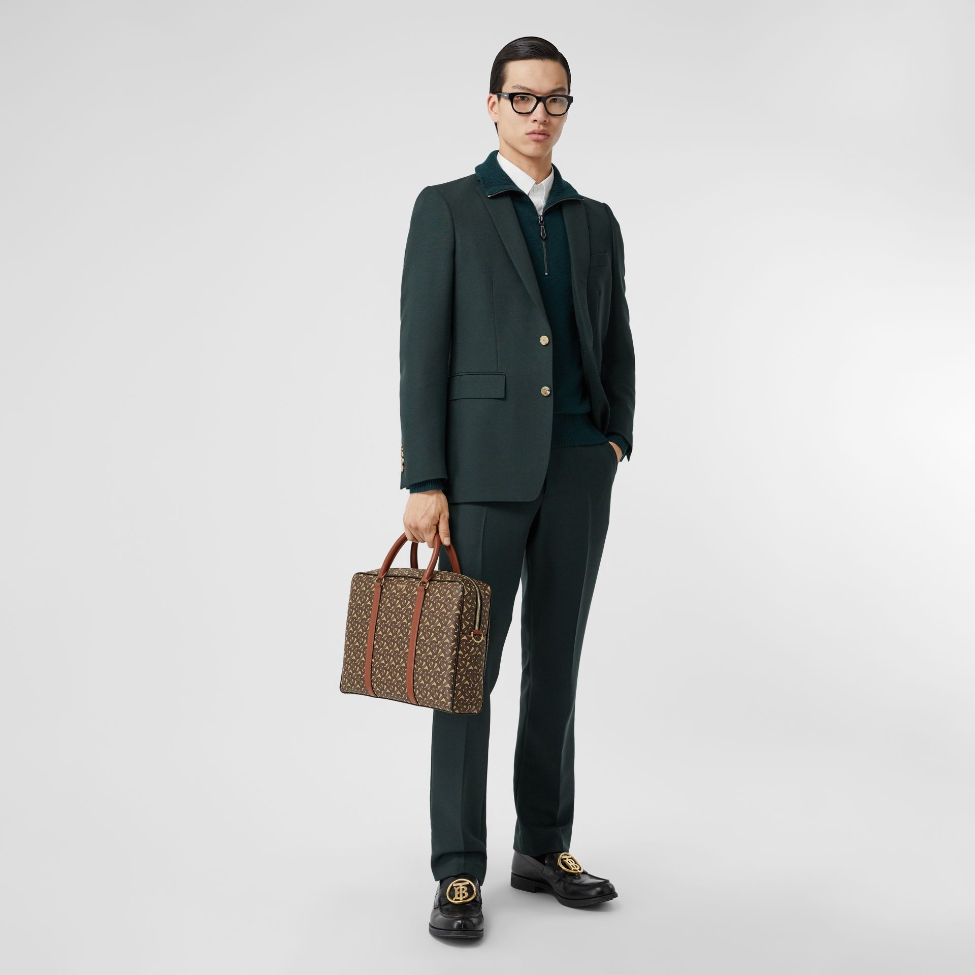 Monogram Print E-canvas and Leather Briefcase in Bridle Brown - Men | Burberry - gallery image 5