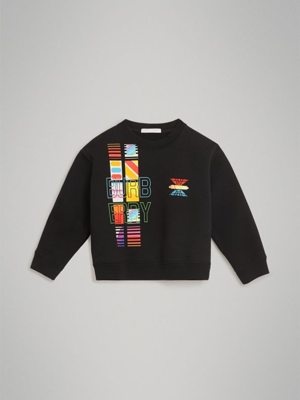Sweat-shirt en jersey avec logo imprimé (Noir)
