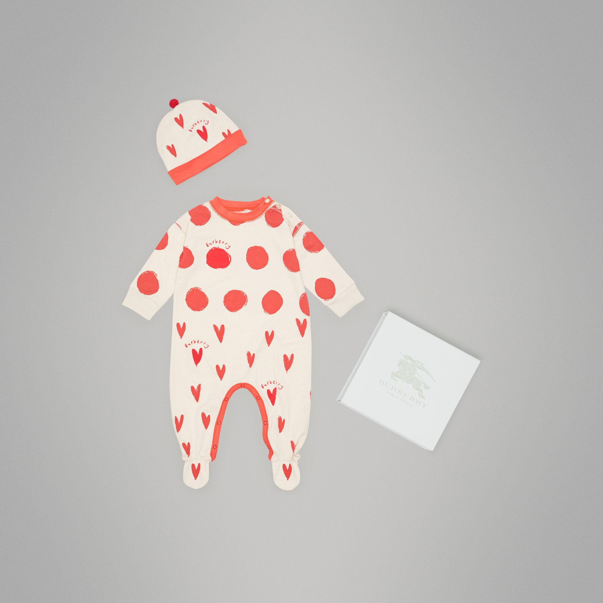 Spot and Heart Print Cotton Two-piece Baby Gift Set in Bright Red - Children | Burberry - gallery image 0