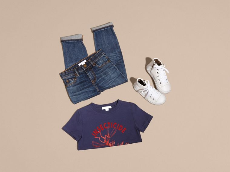 Indigo Playful Print Cotton T-Shirt - cell image 4