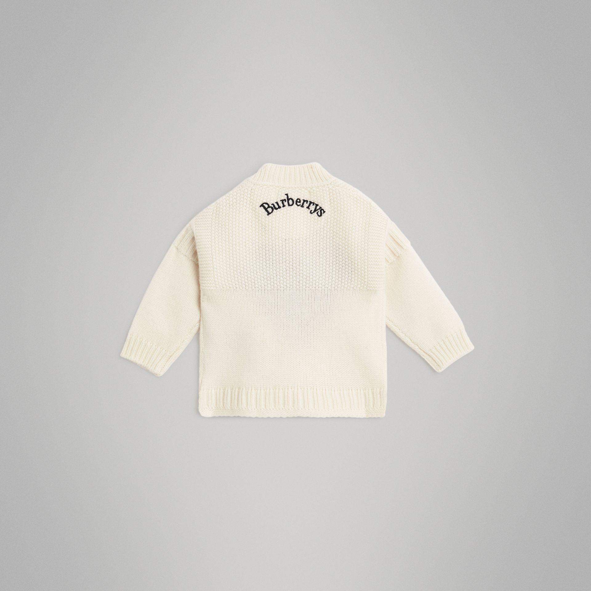 Heart Intarsia Wool Cashmere Sweater in Ivory - Children | Burberry - gallery image 3