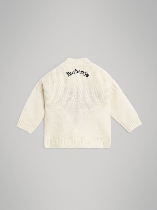 Heart Intarsia Wool Cashmere Sweater in Ivory - Children | Burberry - cell image 3