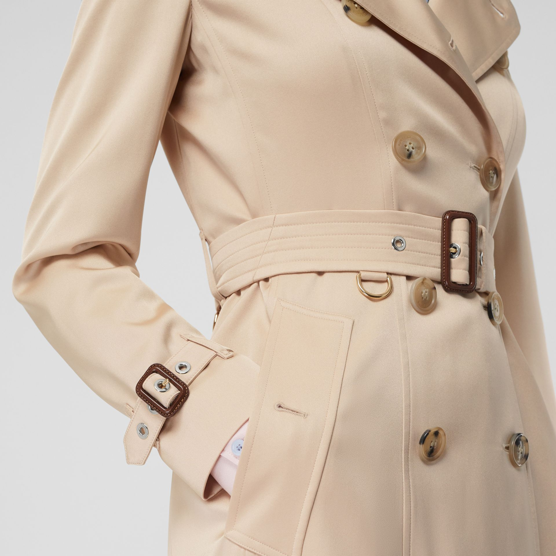 Silk Satin Trench Coat in Pale Blush - Women | Burberry - gallery image 4