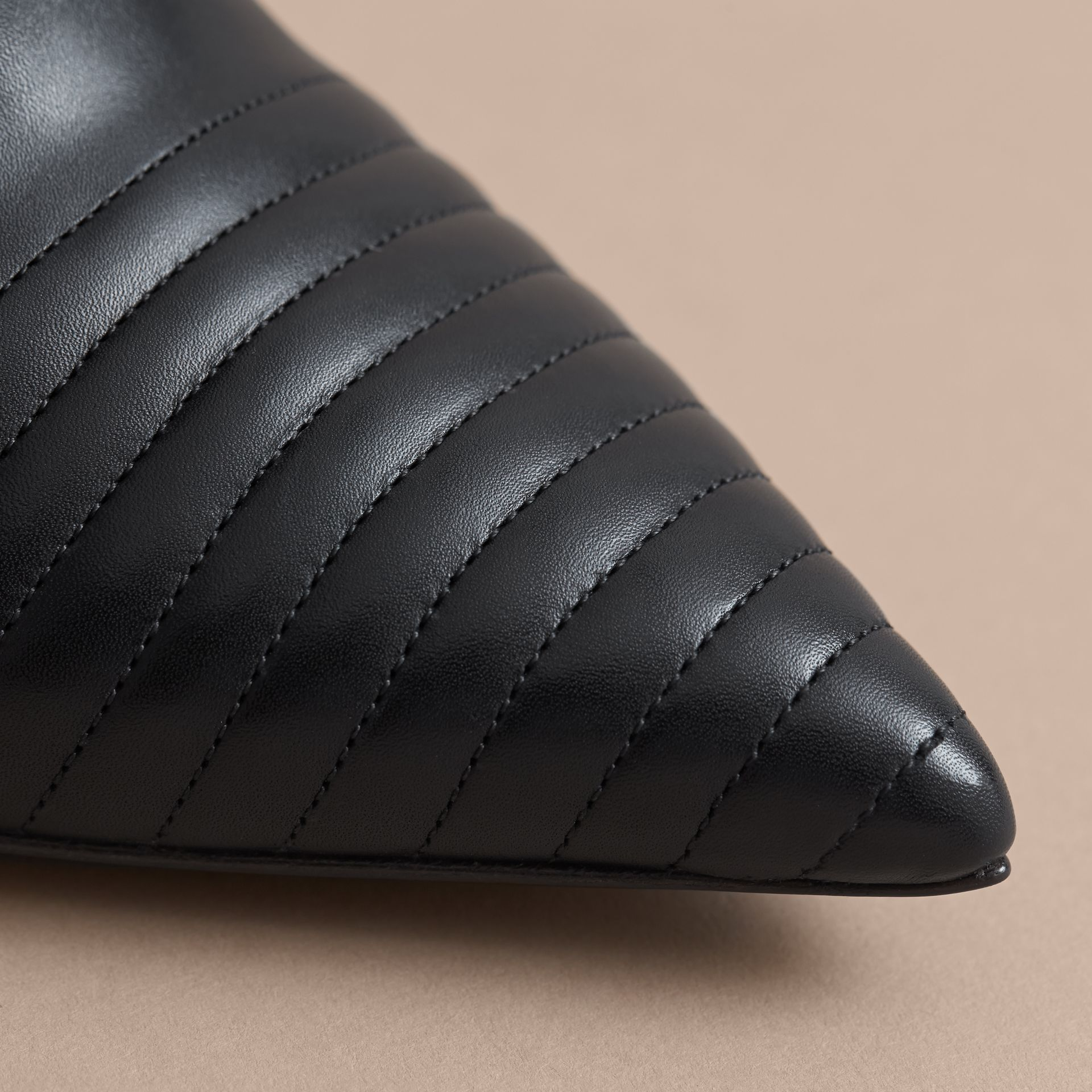 Quilted Leather Ankle Boots in Black - Women | Burberry - gallery image 5