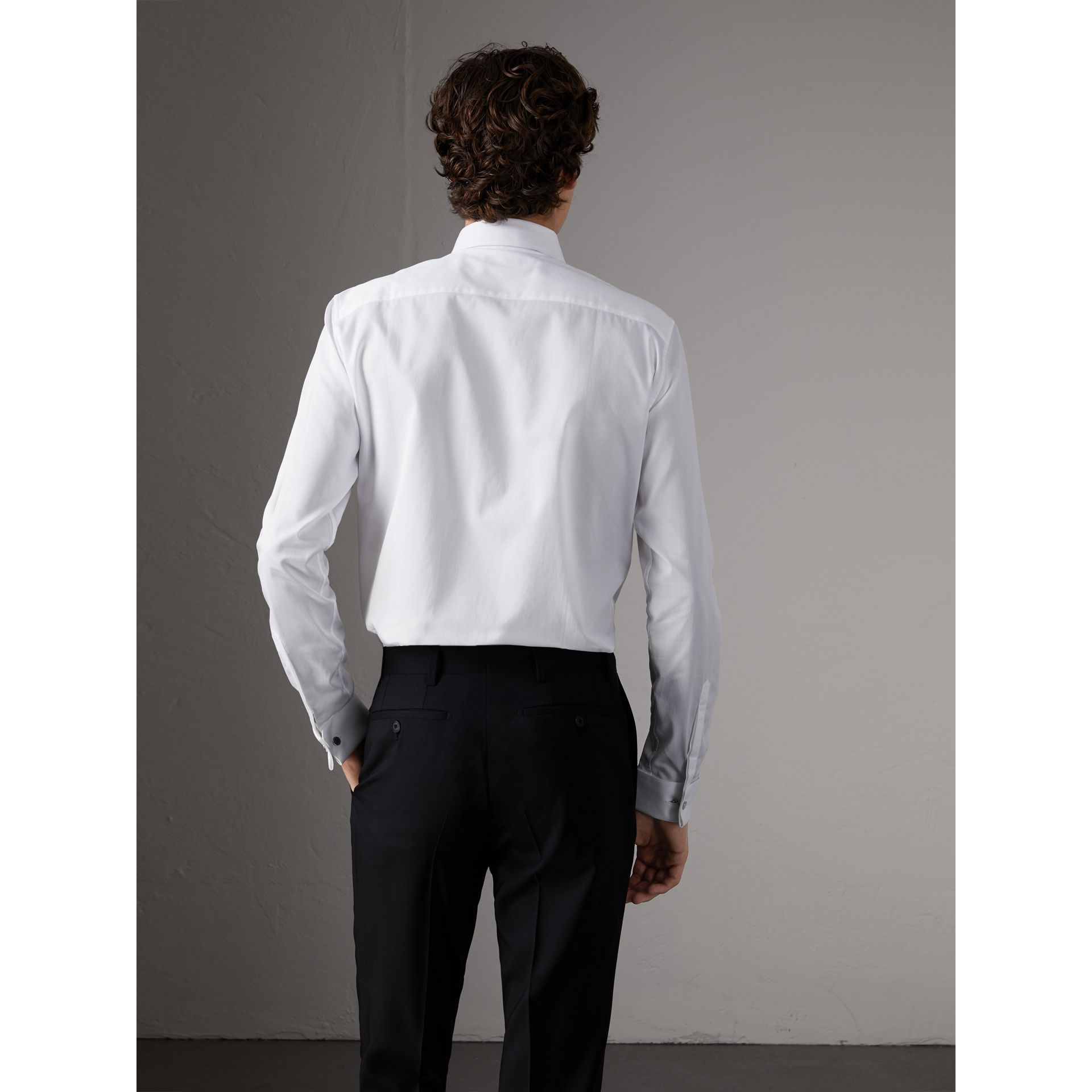 Slim Fit Double-cuff Cotton Dress Shirt in White - Men | Burberry - gallery image 3