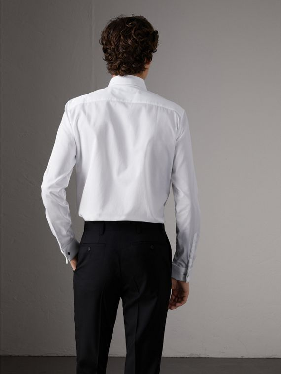 Slim Fit Double-cuff Cotton Dress Shirt in White - Men | Burberry Singapore - cell image 2