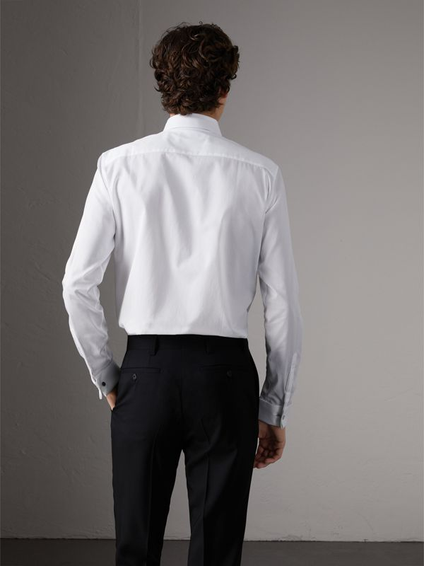 Slim Fit Double-cuff Cotton Dress Shirt in White - Men | Burberry United Kingdom - cell image 2