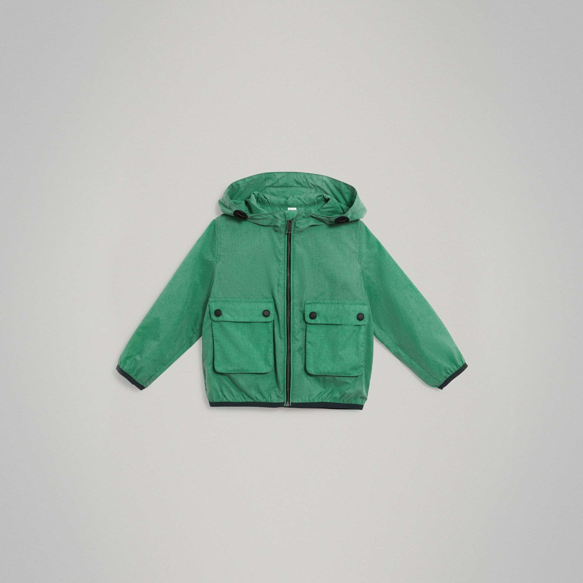 Showerproof Hooded Jacket in Vibrant Green - Boy | Burberry Hong Kong - gallery image 0