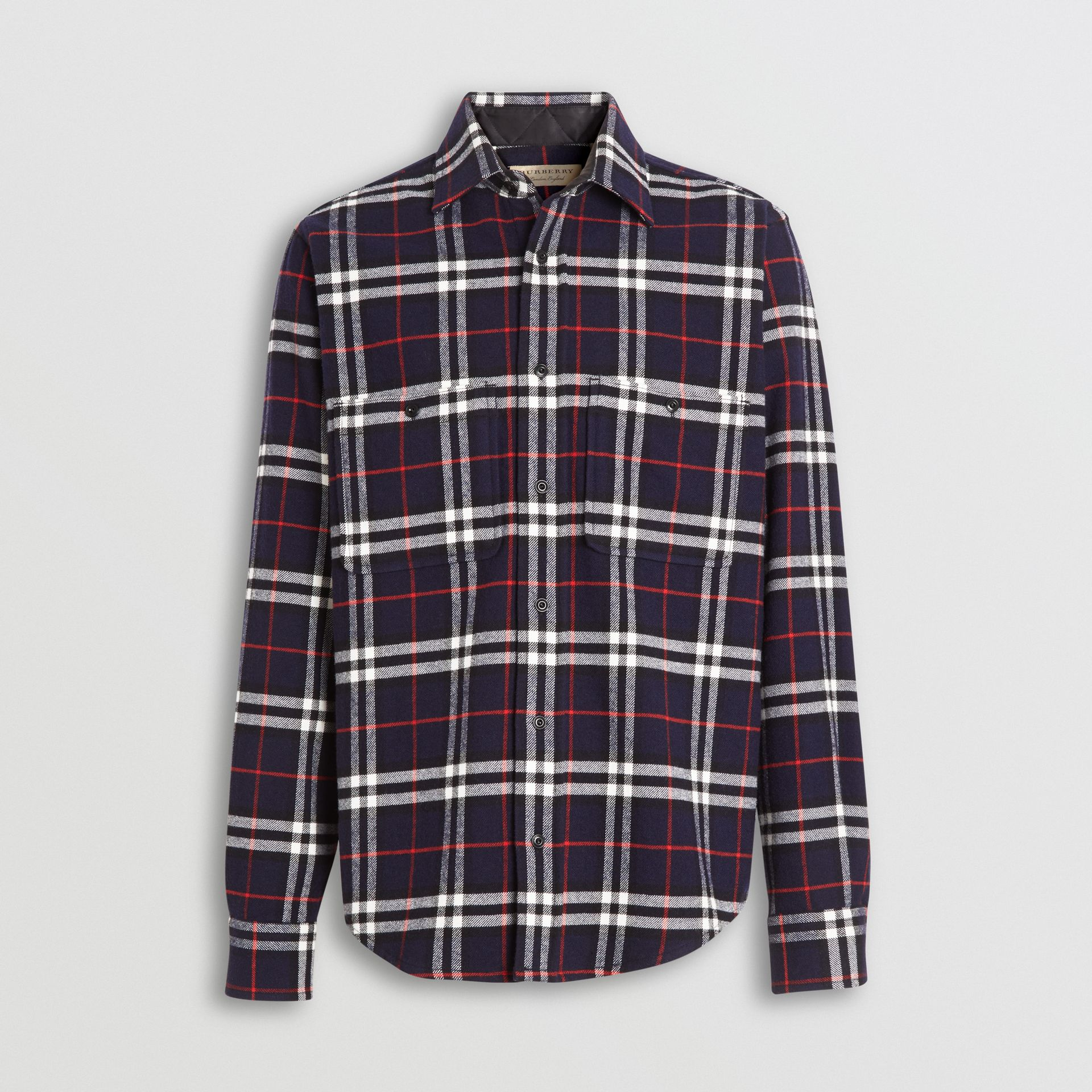 Check Cotton Flannel Shirt in Navy - Men | Burberry Hong Kong - gallery image 3