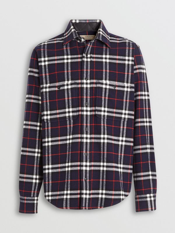 Check Cotton Flannel Shirt in Navy - Men | Burberry - cell image 3