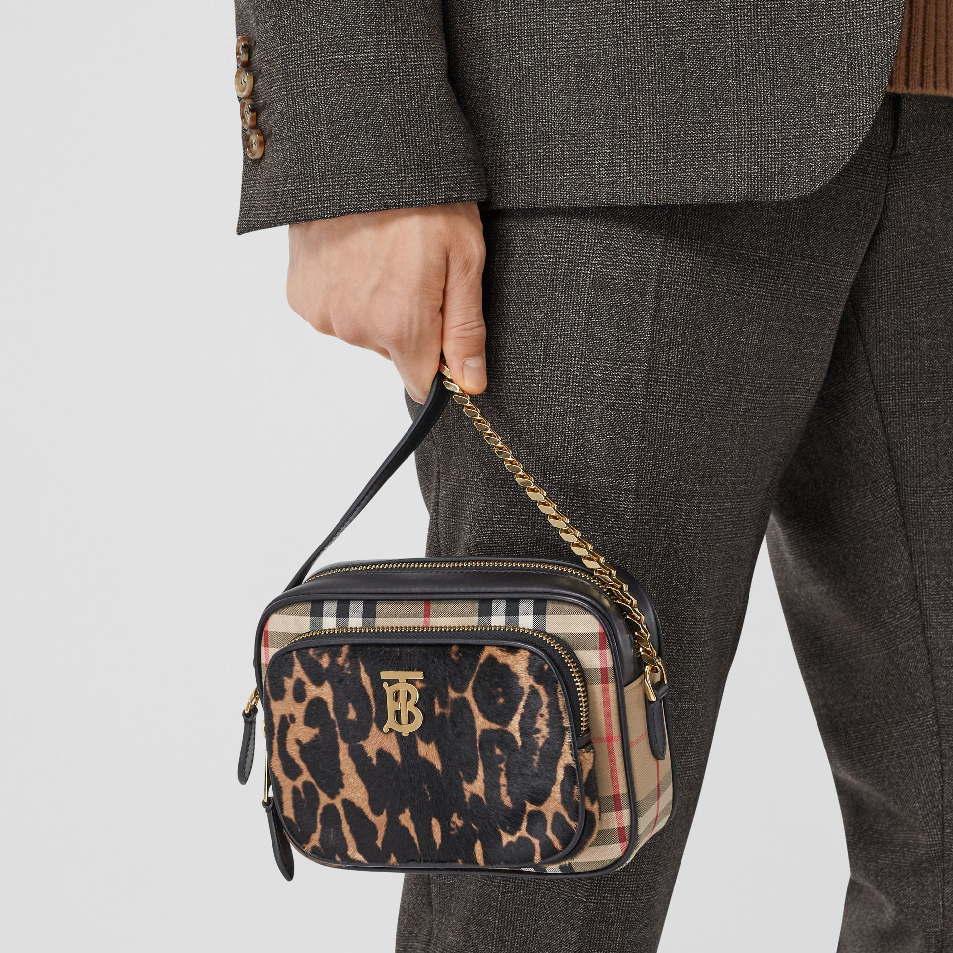 Vintage Check and Leopard Print Calf Hair Camera Bag in Black | Burberry - gallery image 11