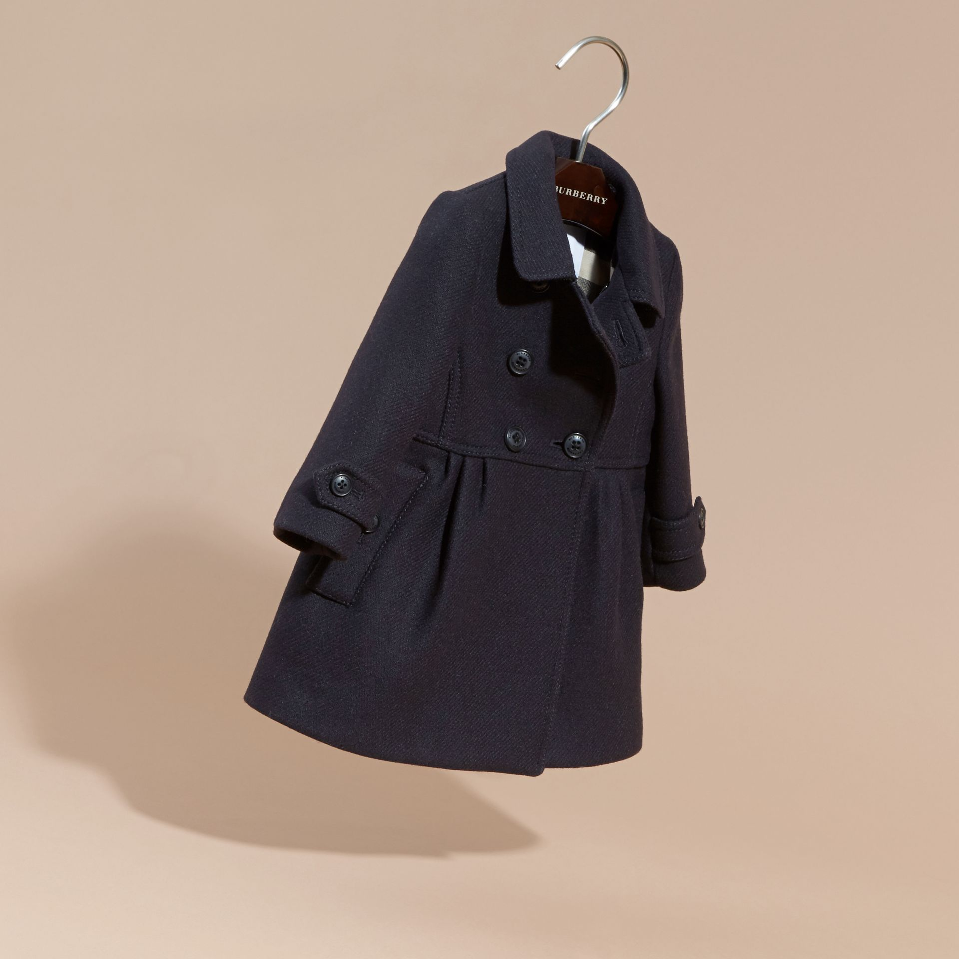 Navy Tailored Wool Cashmere Blend Coat Navy - gallery image 3