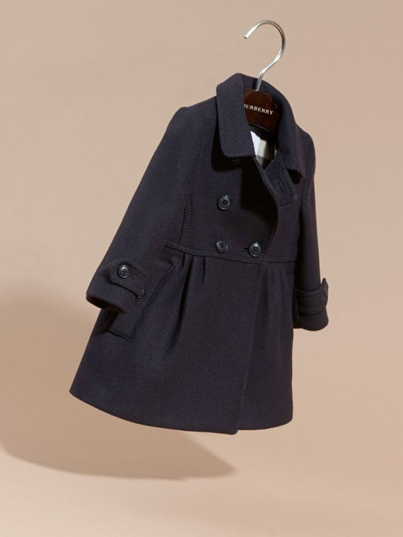 Navy Tailored Wool Cashmere Blend Coat Navy - cell image 2