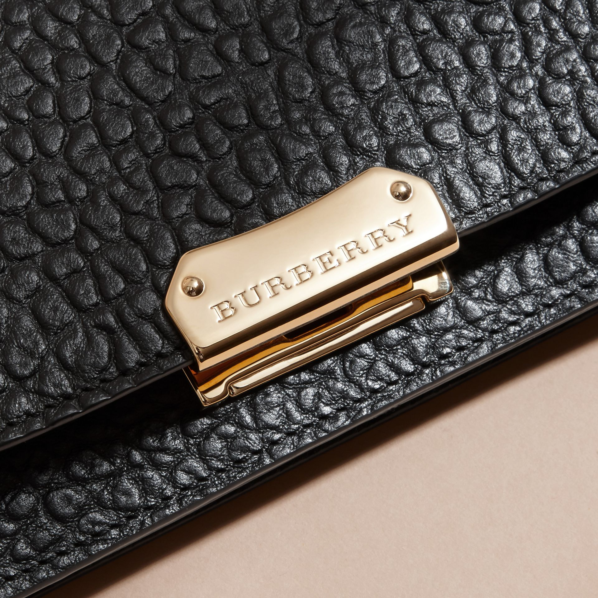 Black Small Signature Grain Leather Clutch Bag with Chain - gallery image 2