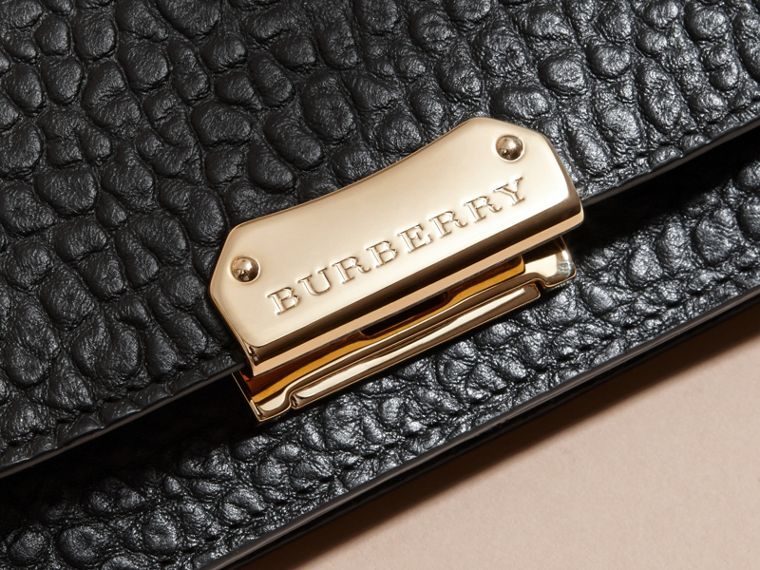 Black Small Signature Grain Leather Clutch Bag with Chain - cell image 1