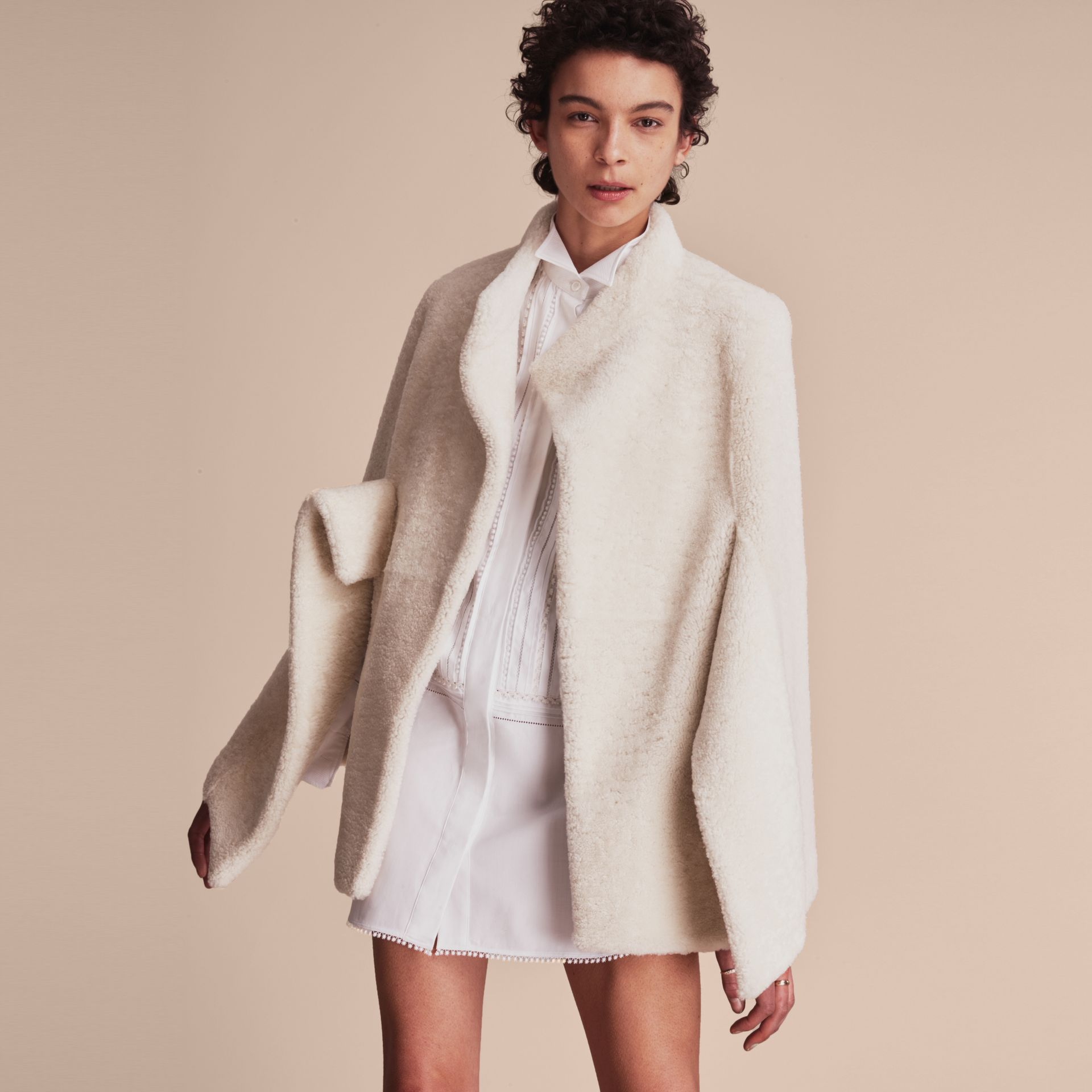 Sculptural Shearling Cape in White - Women | Burberry Canada - gallery image 6