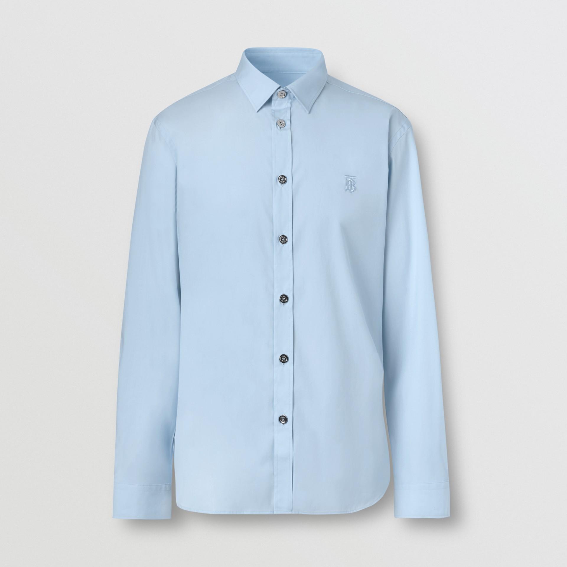 Monogram Motif Stretch Cotton Poplin Shirt in Pale Blue - Men   Burberry Australia - gallery image 3
