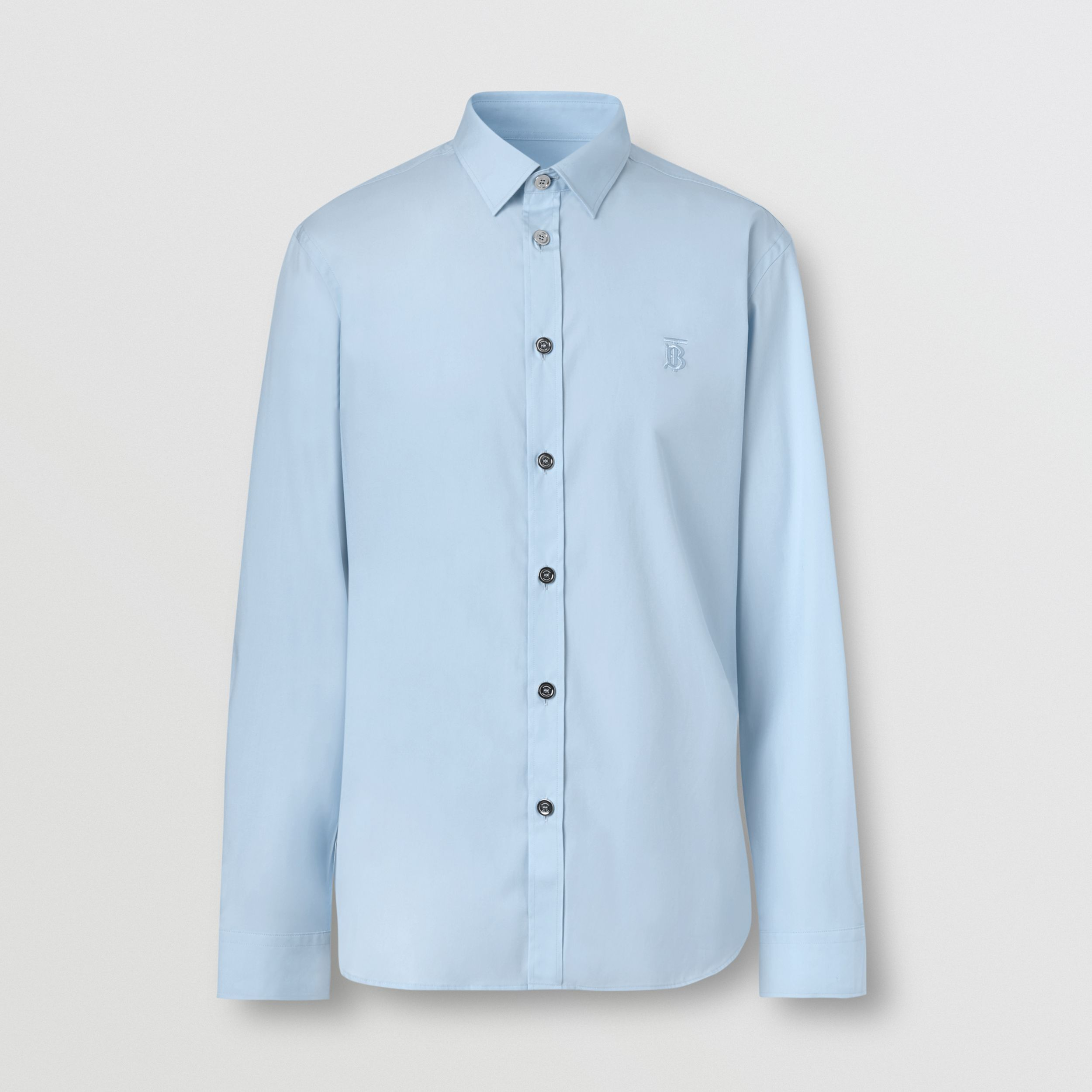 Monogram Motif Stretch Cotton Poplin Shirt in Pale Blue - Men | Burberry - 4