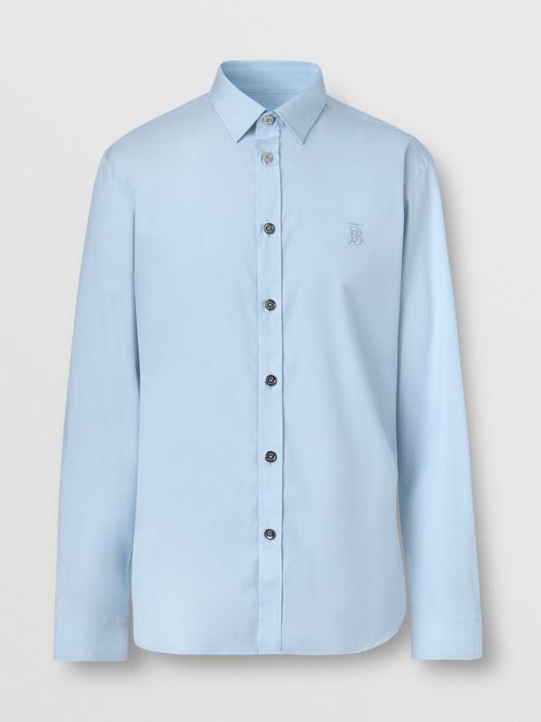 Monogram Motif Stretch Cotton Poplin Shirt in Pale Blue - Men   Burberry Australia - cell image 3