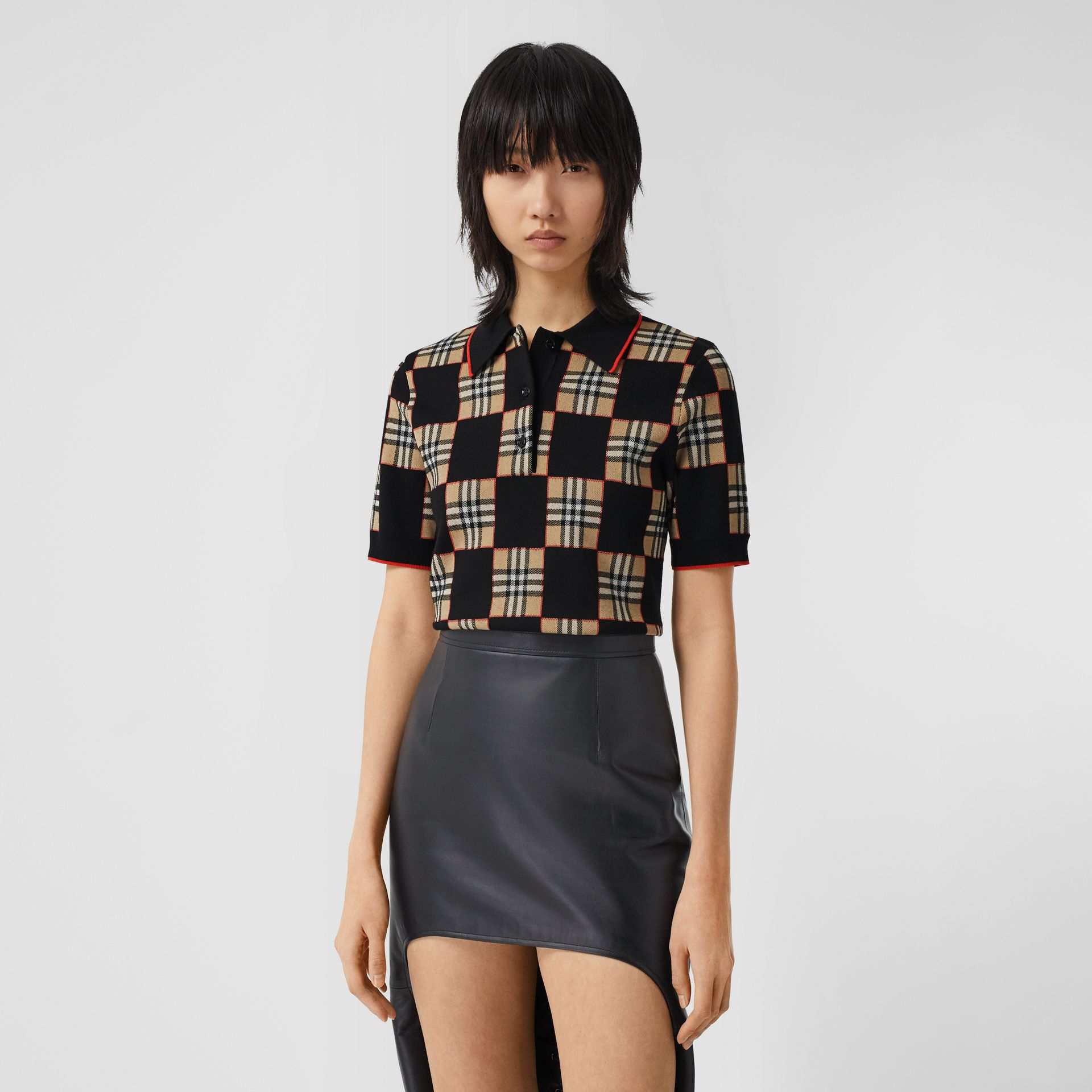 Chequer Merino Wool Blend Jacquard Polo Shirt in Black/archive Beige - Women | Burberry United Kingdom - gallery image 4