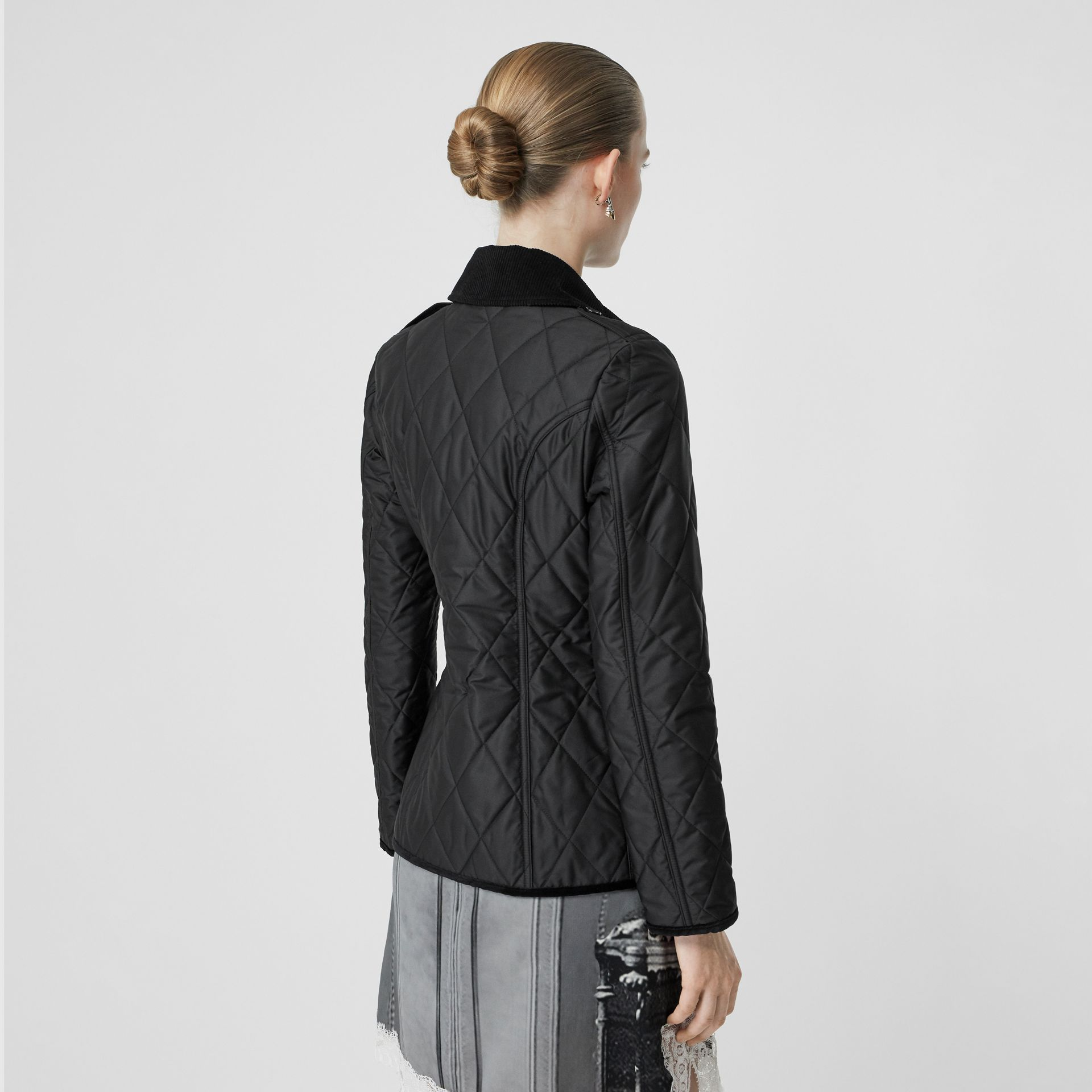 Monogram Motif Diamond Quilted Jacket in Black - Women | Burberry Singapore - gallery image 2