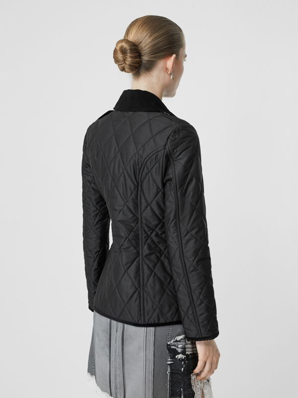 Monogram Motif Diamond Quilted Jacket in Black - Women | Burberry - cell image 2
