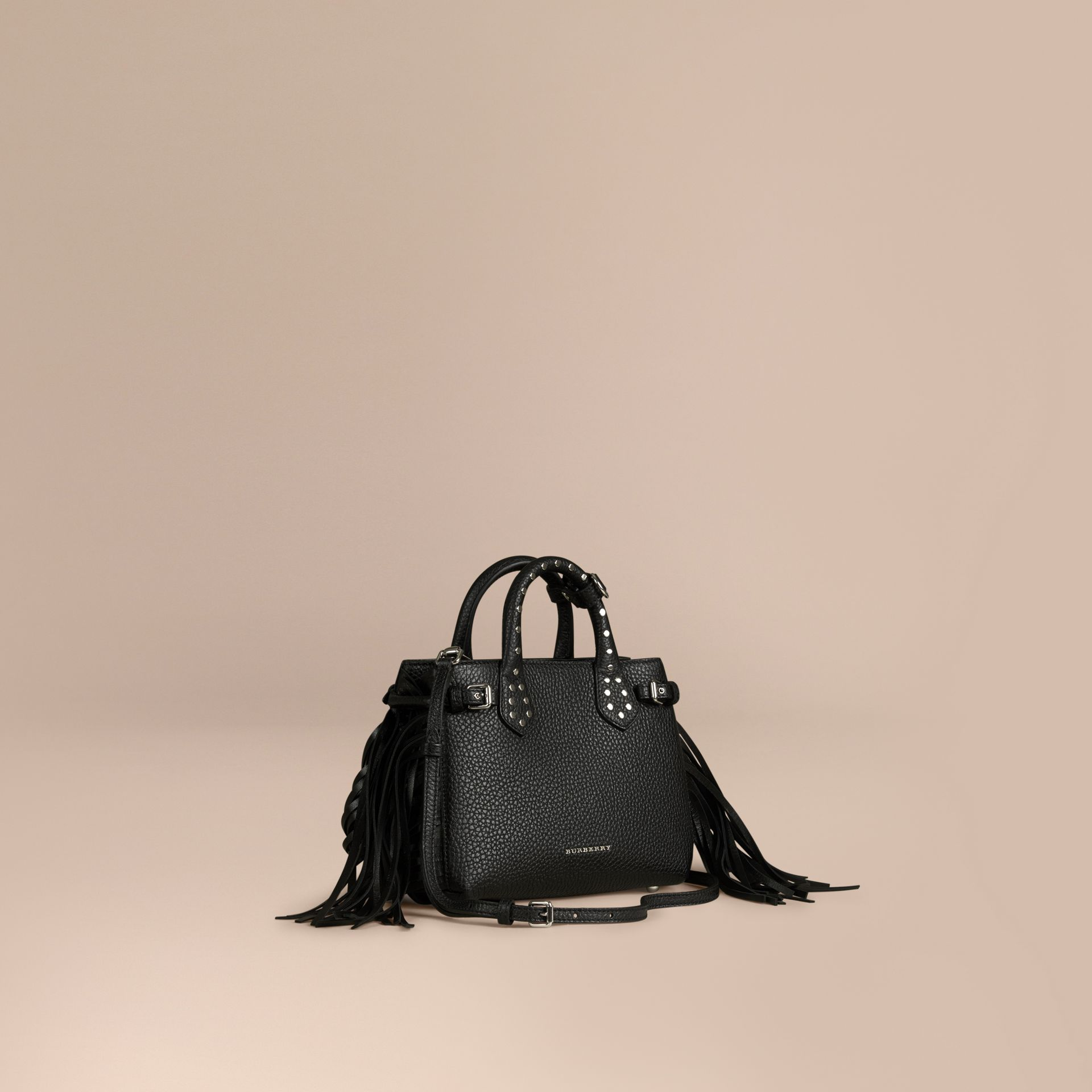 The Baby Banner in Fringed Grainy Leather Black - gallery image 1