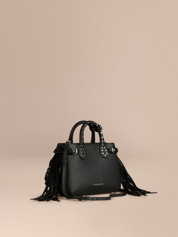 The Baby Banner in Fringed Grainy Leather Black