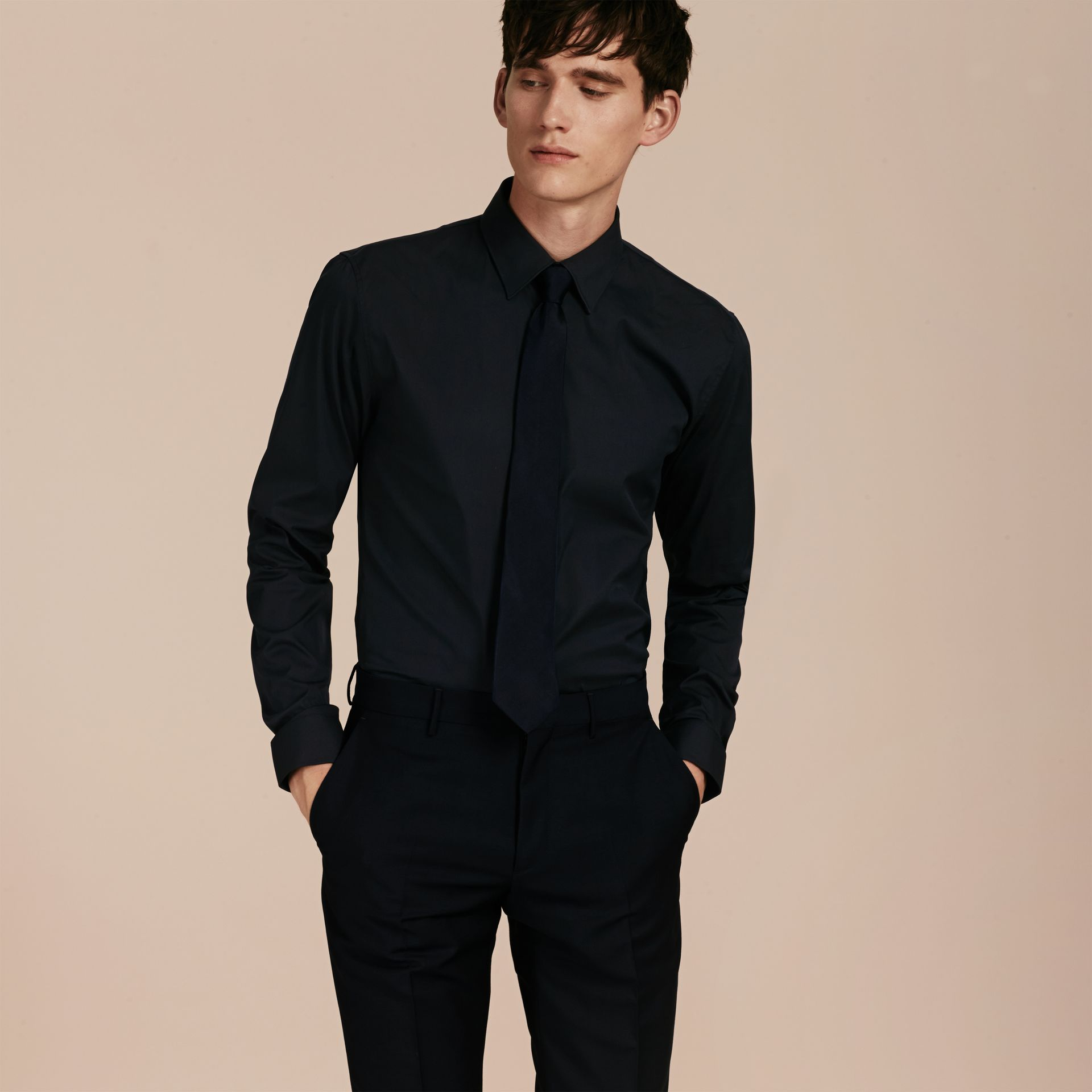 Slim Fit Stretch Cotton Shirt in Navy - gallery image 6