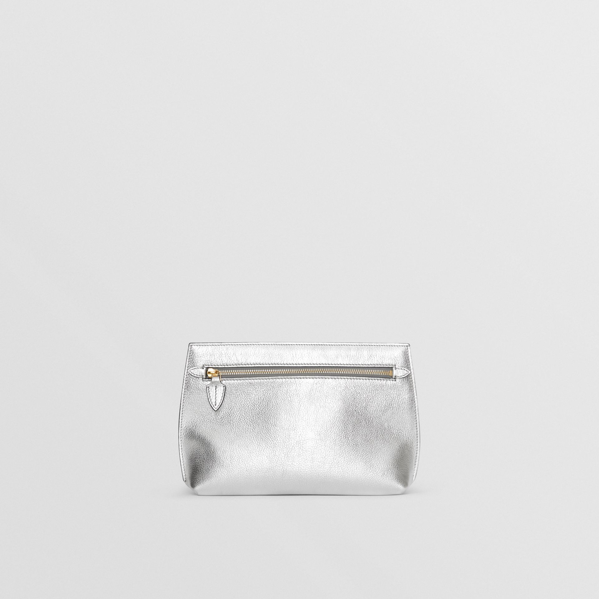 Metallic Leather Wristlet Clutch in Silver - Women | Burberry Australia - gallery image 7
