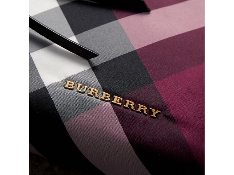 Large Zip-top Check Pouch in Plum - Women | Burberry - cell image 1
