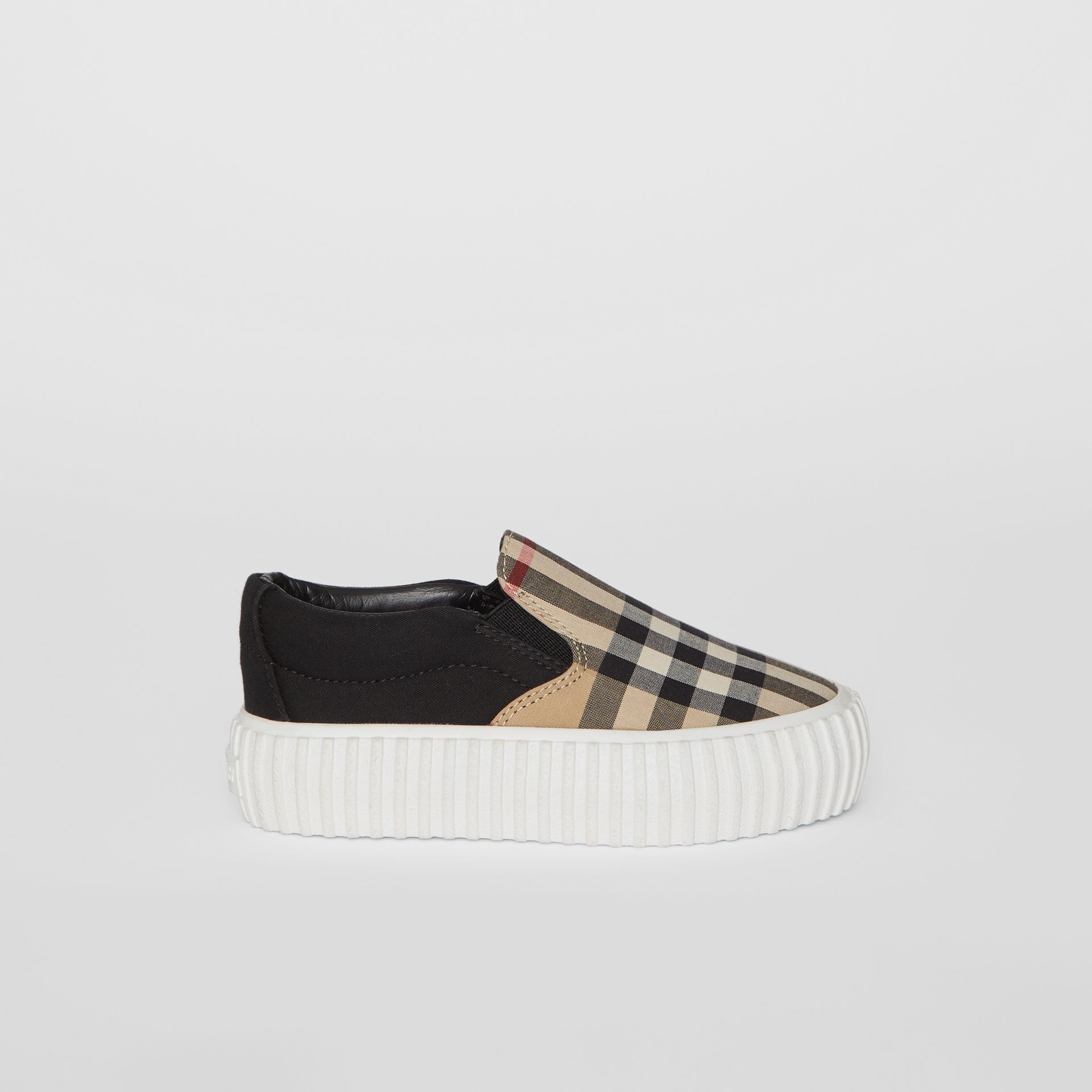 Vintage Check Detail Cotton Slip-on Sneakers in Archive Beige/black - Children | Burberry - gallery image 3