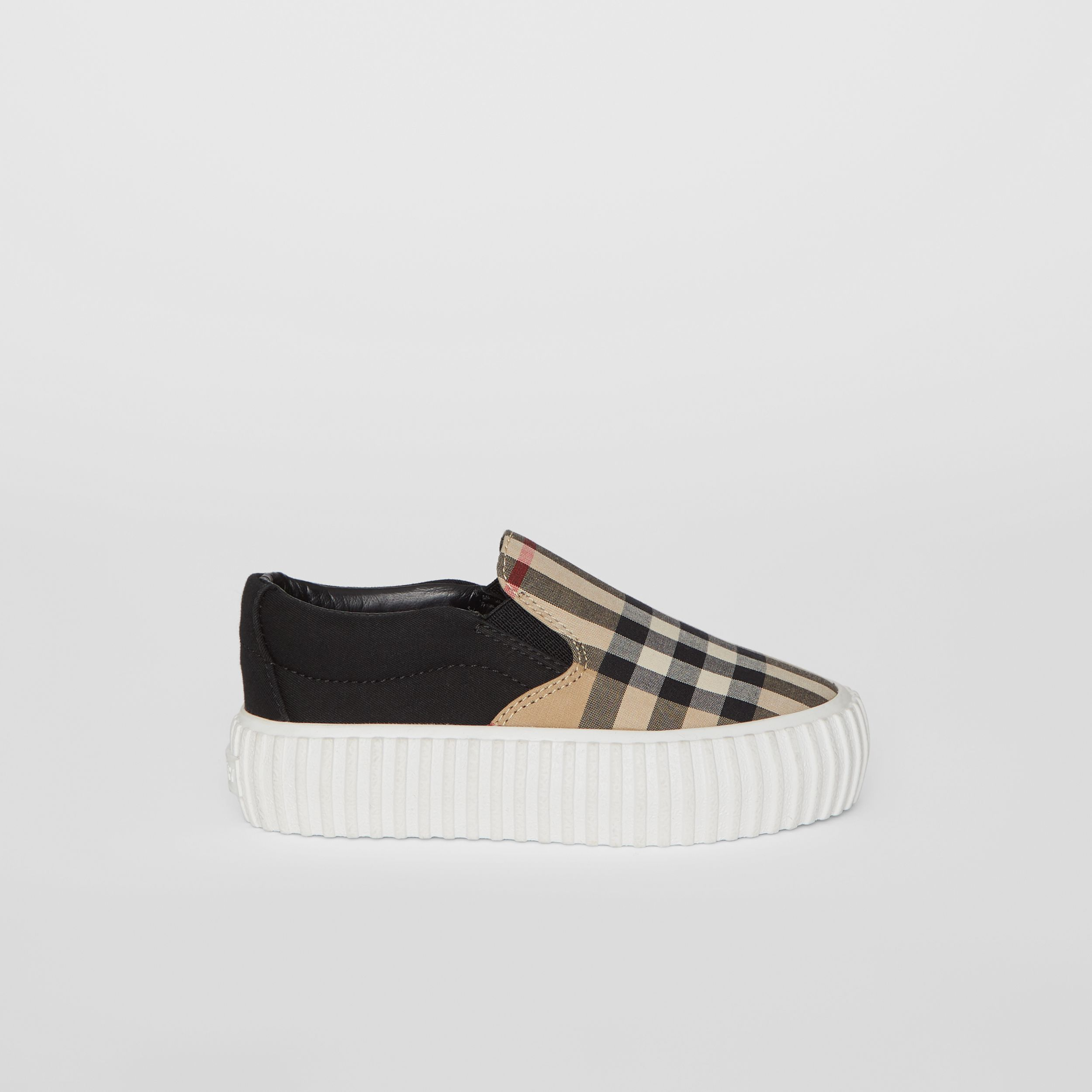 Vintage Check Detail Cotton Slip-on Sneakers in Archive Beige/black - Children | Burberry United Kingdom - 4