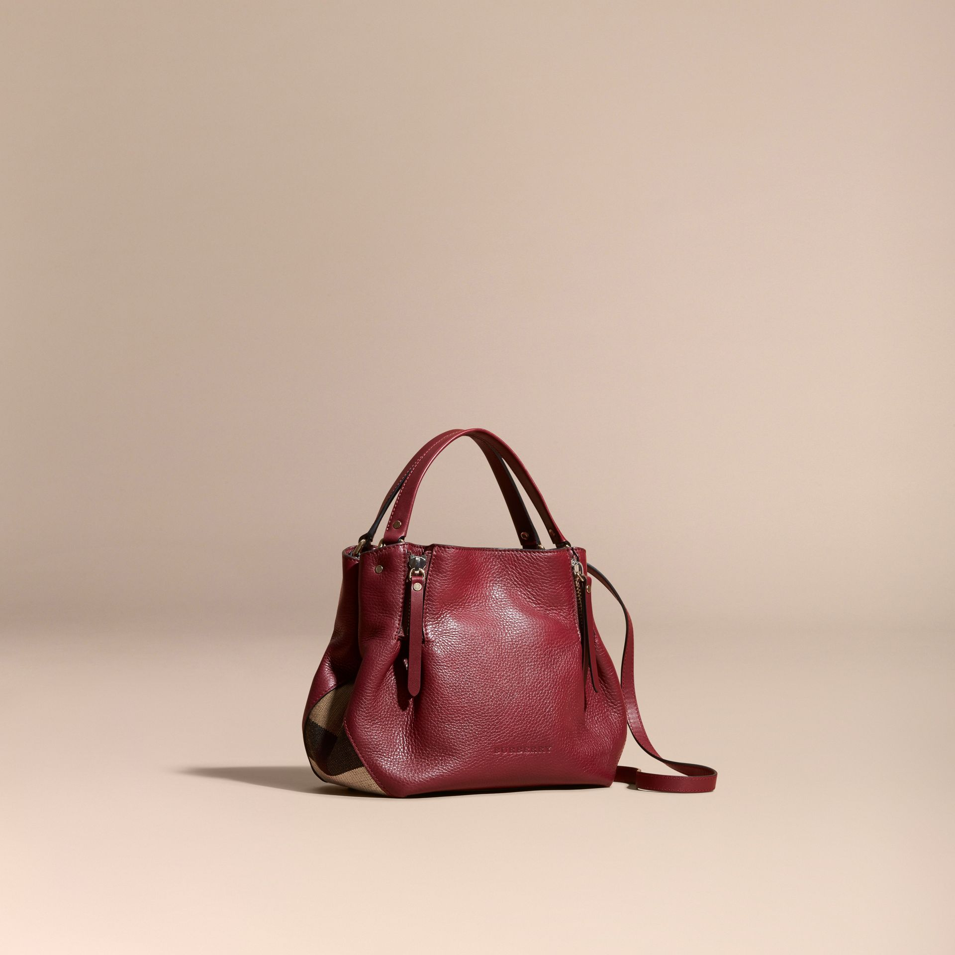 Burgundy red Small Check Detail Leather Tote Bag - gallery image 1