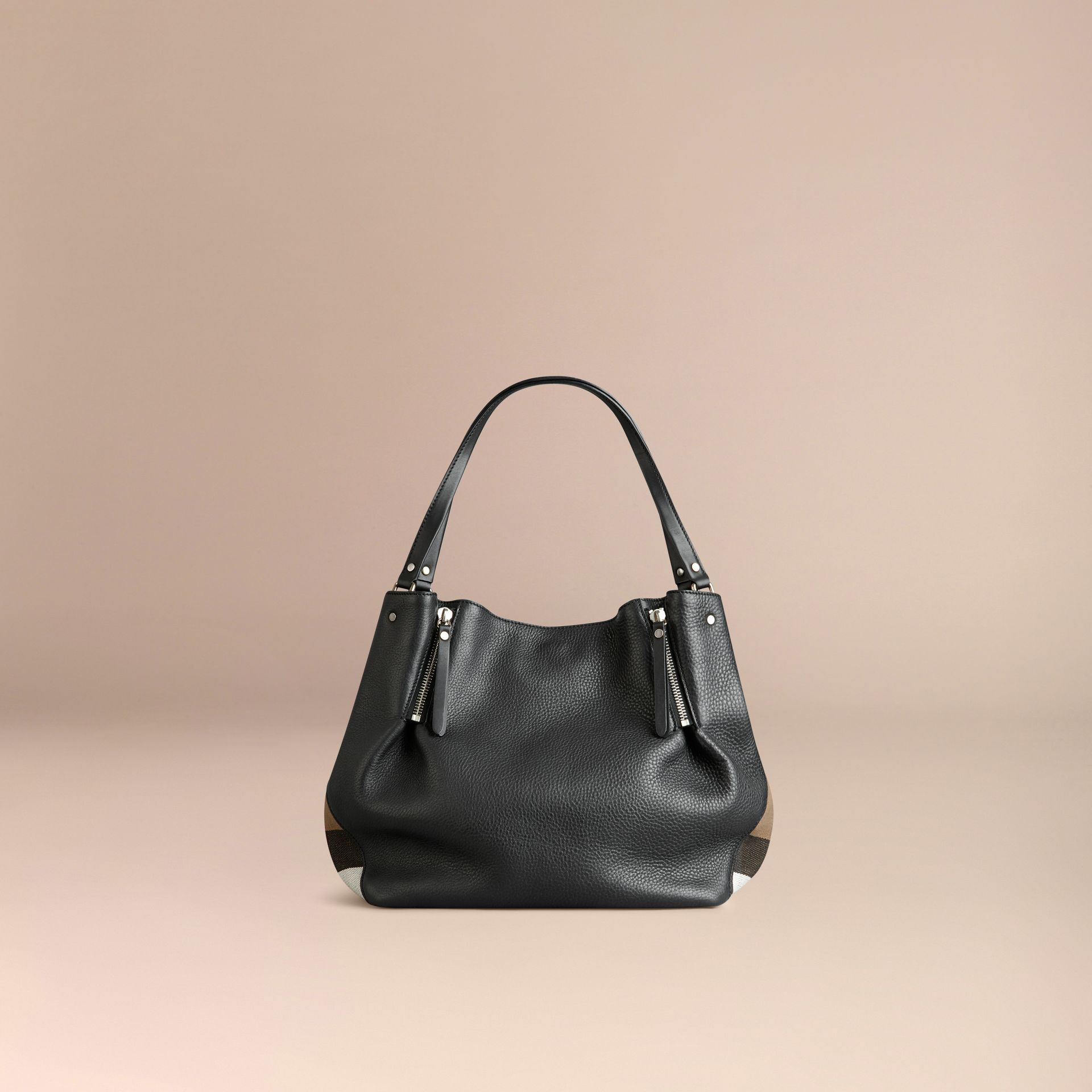 Black Medium Check Detail Leather Tote Bag Black - gallery image 3
