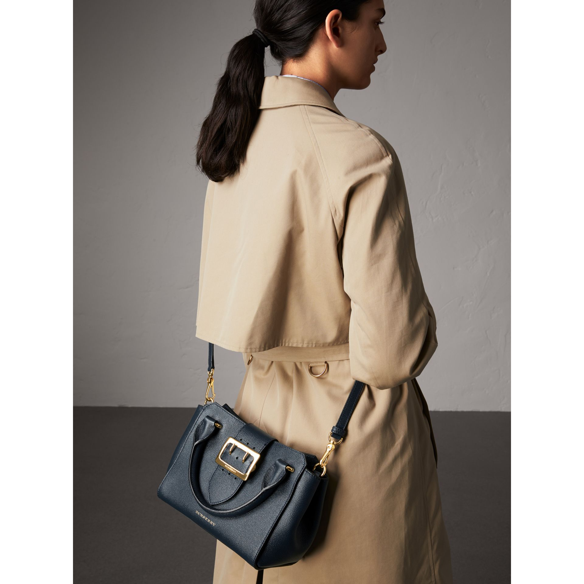 The Small Buckle Tote in Grainy Leather in Blue Carbon - Women | Burberry Australia - gallery image 2