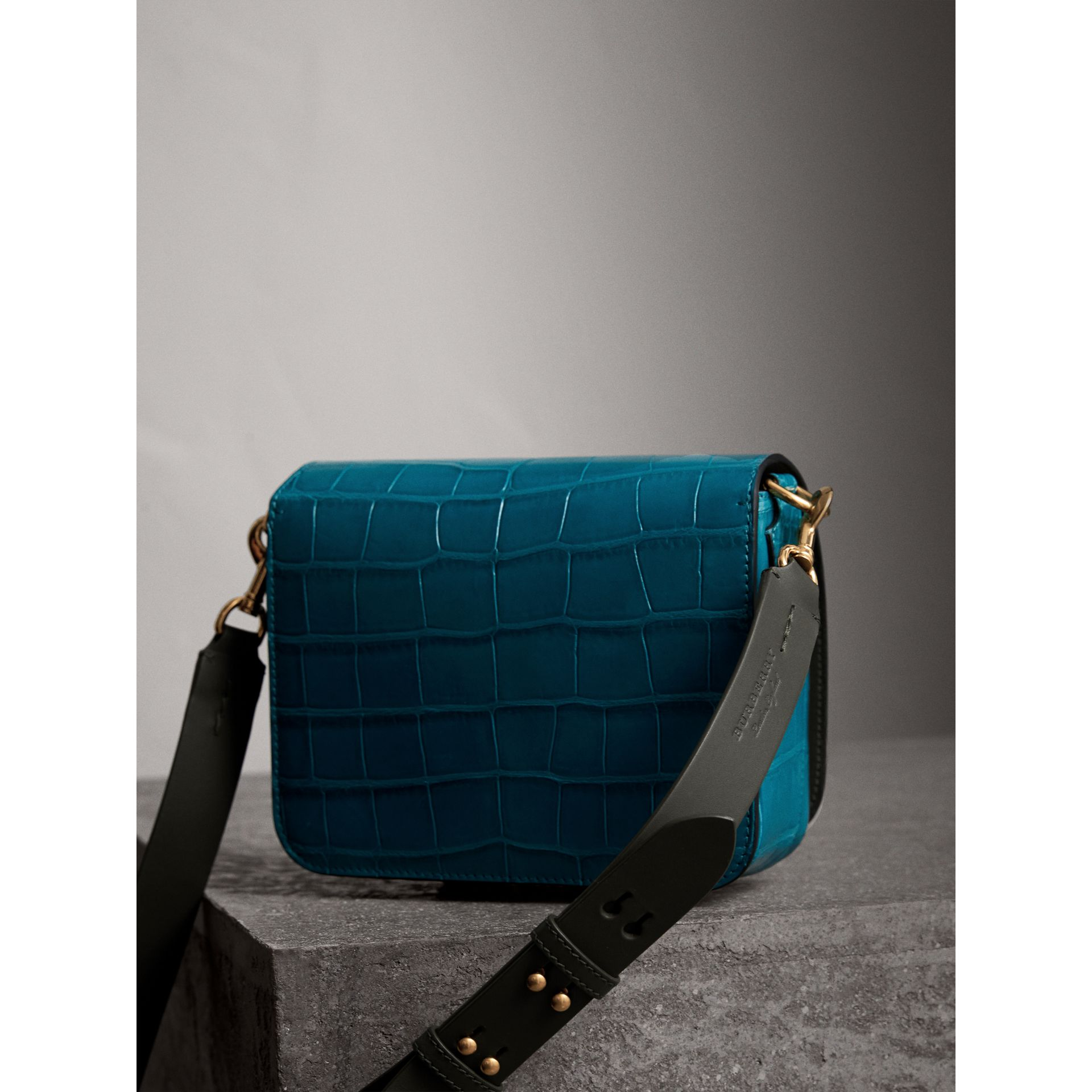 The Square Satchel in Alligator in Dark Teal - Women | Burberry - gallery image 4
